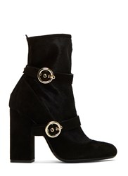 Lanvin Double Strapped Calf Hair Ankle Boots Black