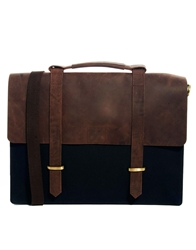 Asos Canvas And Leather Satchel Navy