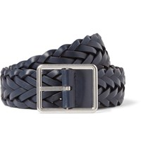 Paul Smith 3Cm Navy Woven Leather Belt Blue