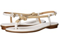 Michael Michael Kors Holly Sandal Optic White Rope Vachetta Women's Sandals Gold