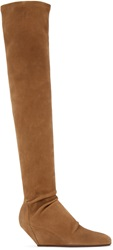 Rick Owens Brown Suede Stretch Boots