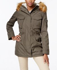 S13 Faux Fur Lined Hooded Down Parka Military Green