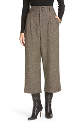 Pink Tartan 'Donegal' Tweed High Waist Crop Pants Brown