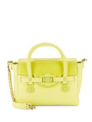 Versace Solid Leather Flap Handbag Yellow