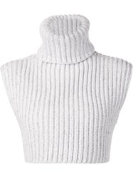 Baja East Ribbed Turtle Neck Crop Top White