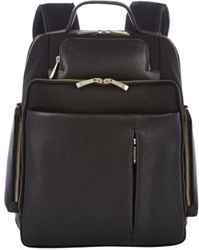 Barneys New York Saffiano Leather Trimmed Backpack Black