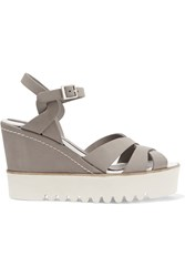 Paloma Barcelo Ceralin Leather Wedge Sandals Gray