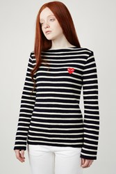 Comme Des Garcons Play Red Heart Striped Pullover Navy Natural