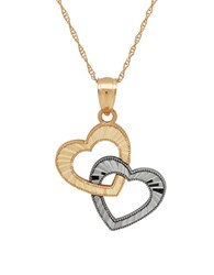Lord And Taylor 14K Yellow Gold Heart In Heart Pendant Necklace Two Tone
