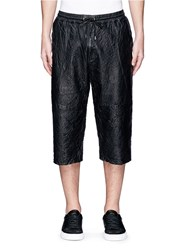 Mcq By Alexander Mcqueen Crinkled Lambskin Leather Shorts Black