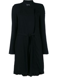 Ann Demeulemeester Pleated Wool Blend Coat Black