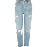River Island Womens Light Blue Ripped Ashley Boyfriend Jeans