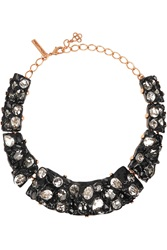 Oscar De La Renta Gold Plated Resin And Crystal Necklace Black