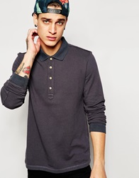 Esprit Long Sleeve Washed Pique Polo Shirt Grey