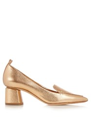 Nicholas Kirkwood Beya Grained Leather Block Heel Pumps Gold