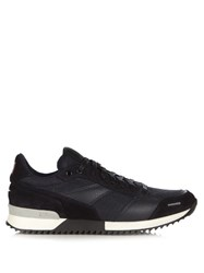 Ami Alexandre Mattiussi Leather And Suede Panelled Trainers Navy Multi