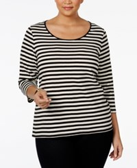 Charter Club Plus Size Striped Top Only At Macy's Deep Black