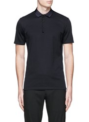 Lanvin Grosgrain Collar Polo Shirt Blue