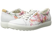 Ecco Soft Vii Sneaker White Floral Print White Powder Women's Lace Up Casual Shoes