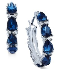 Nine West Silver Tone Teardrop Crystal Hoop Earrings Blue