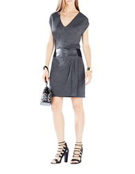 Bcbgmaxazria Briella Leatherette Belted Dress Grey