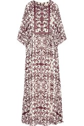 Tory Burch Printed Silk Georgette Maxi Dress Burgundy