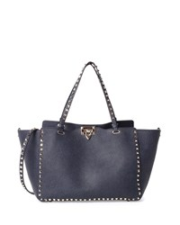 Rockstud Medium Vitello Tote Bag Denim Blue Valentino