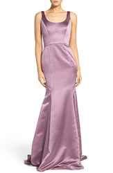 Hayley Paige Occasions Women's Back Cutout Scoop Neck Satin Trumpet Gown Wisteria