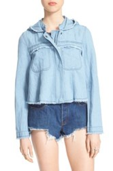 Free People Raw Edge Cotton And Hemp Denim Jacket Blue