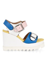Chrissie Morris Ida Colour Block Leather Wedge Sandals