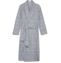 Emma Willis Checked Cotton Dressing Gown Blue