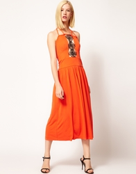 Kore By Sophia Kokosalaki Motif Lace Insert Midi Dress Sunset