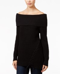 Jessica Simpson Lace Up Off The Shoulder Sweater Biking Red