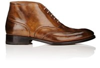 Bruno Famiglietti Men's Burnished Leather Wingtip Ankle Boots Tan