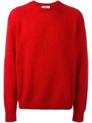 Msgm Crew Neck Jumper Red