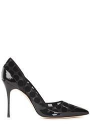 Manolo Blahnik Paza Black Polka Dot Mesh Pumps