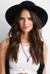 Forever 21 Corded Wide Brim Fedora Black Red