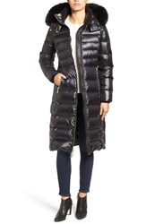 Andrew Marc New York Women's Down Coat With Genuine Fox Fur Trim Black