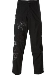 Amen Flower Embroidered Trousers Black