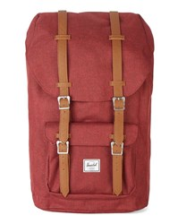 Herschel Red Little America Leather Strap Backpack 25 L