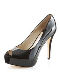 La Fenice Gioia Patent Leather Platform Peep Toe Pump Black
