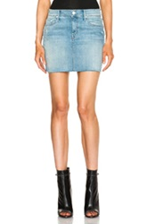 Mother Peg Mini Fray Skirt In Blue