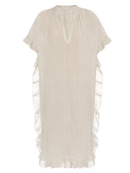 Masscob Ruffled Edge Linen Dress Beige
