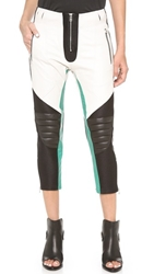 Faith Connexion Multico Leather Biker Pants White