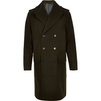 River Island Mens Khaki Military Double Breasted Winter Coat