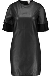 Iris And Ink Suede Paneled Leather Mini Dress Black