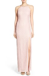 Women's Speechless 'Tesa' Embellished Lace Halter Gown Antique Rose