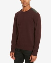 Kenneth Cole Reaction Men's Mixed Media Crew Neck Sweater Merlot