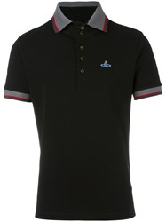 Vivienne Westwood Man Orb Embroidered Polo Shirt Black