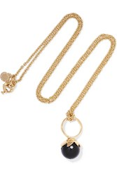 Marc By Marc Jacobs Gold Tone Stone Necklace Black